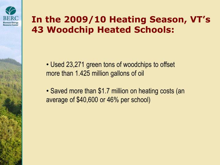 In the 2009/10 Heating Season, VT's 43 Woodchip Heated Schools:
