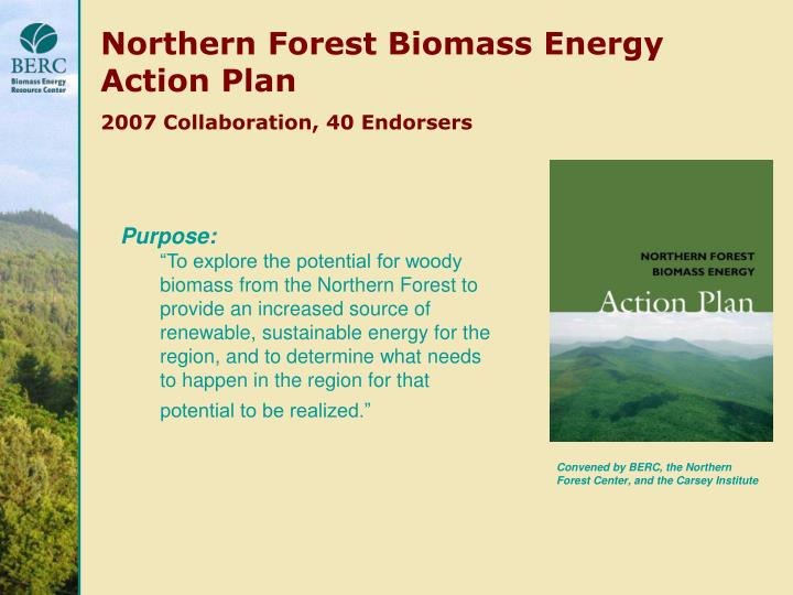 Northern Forest Biomass Energy Action Plan