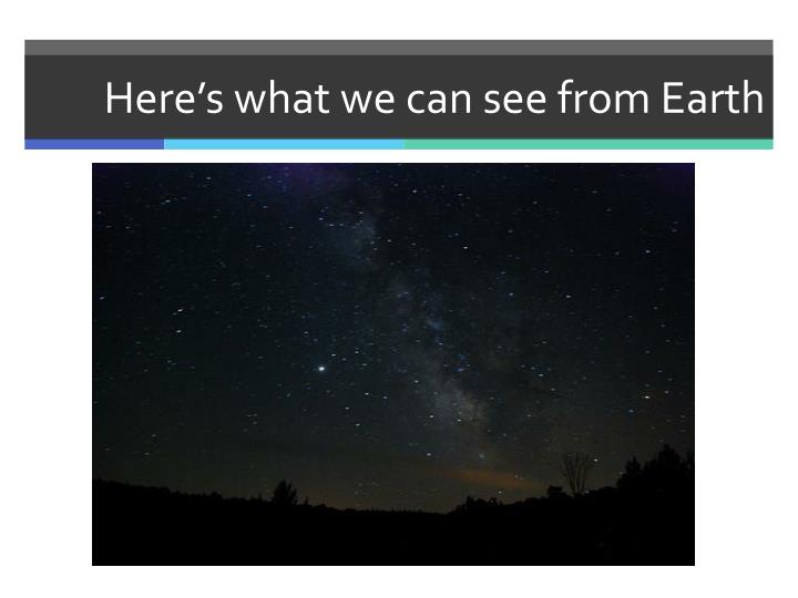 Here's what we can see from Earth
