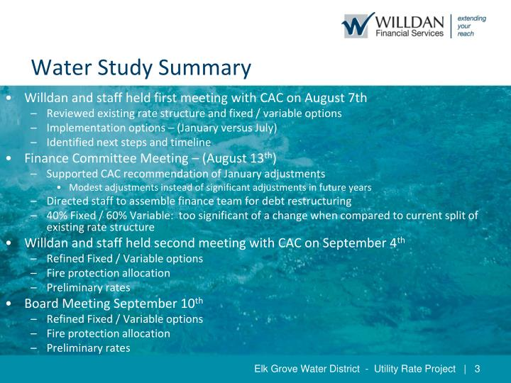 Water study summary