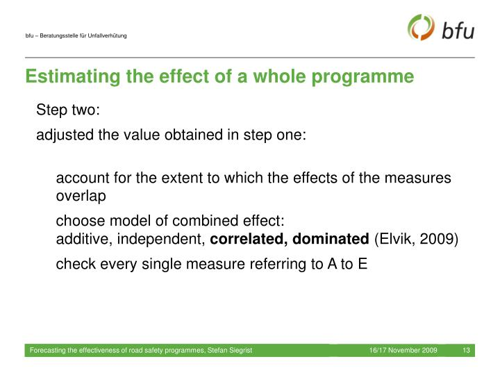 Estimating the effect of a whole programme