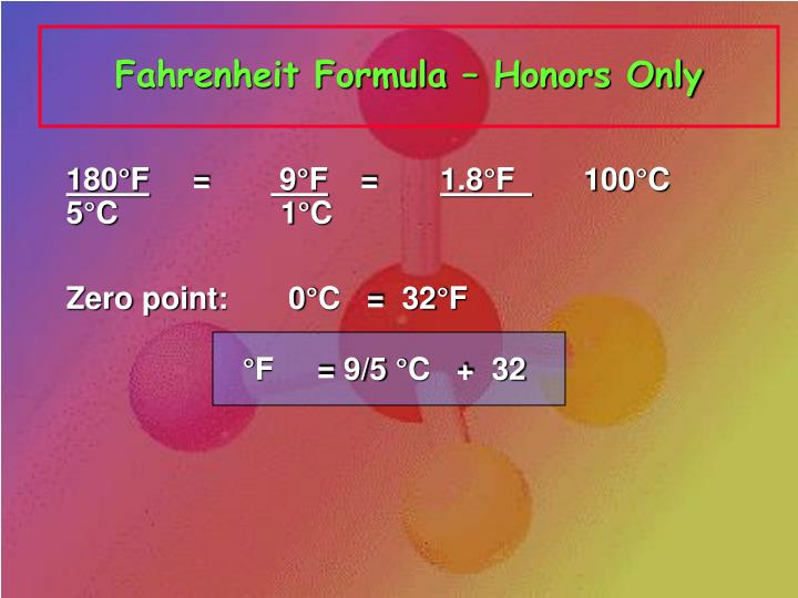 Fahrenheit Formula – Honors Only
