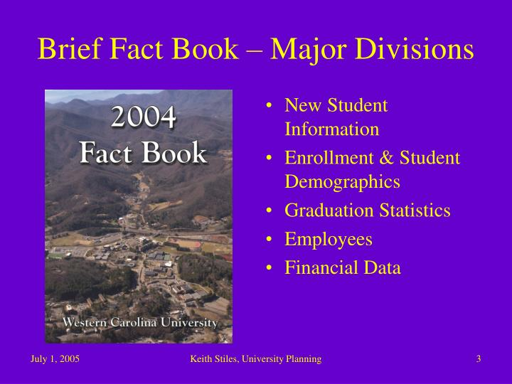 Brief fact book major divisions