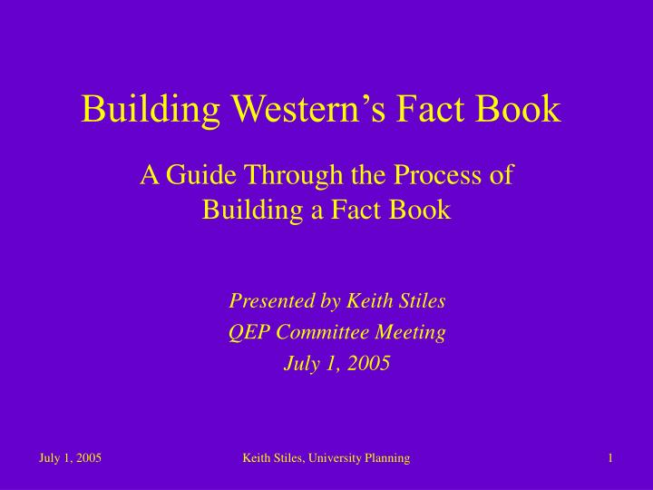 Building western s fact book