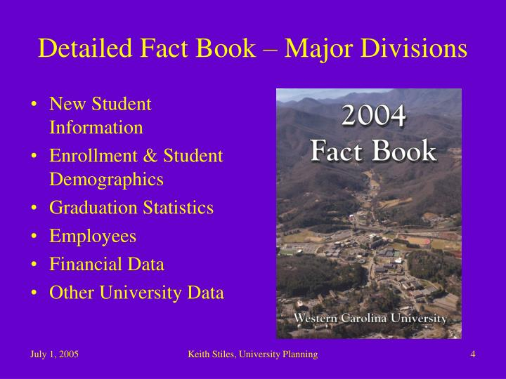 Detailed Fact Book – Major Divisions