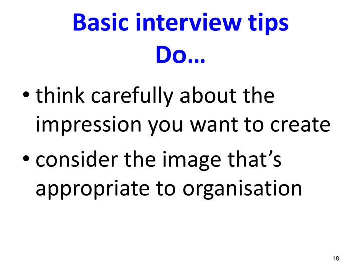 Basic interview tips