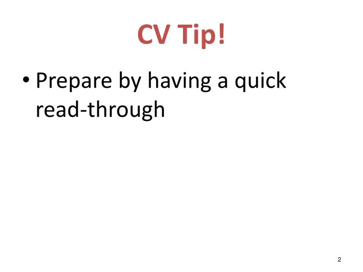 CV Tip!