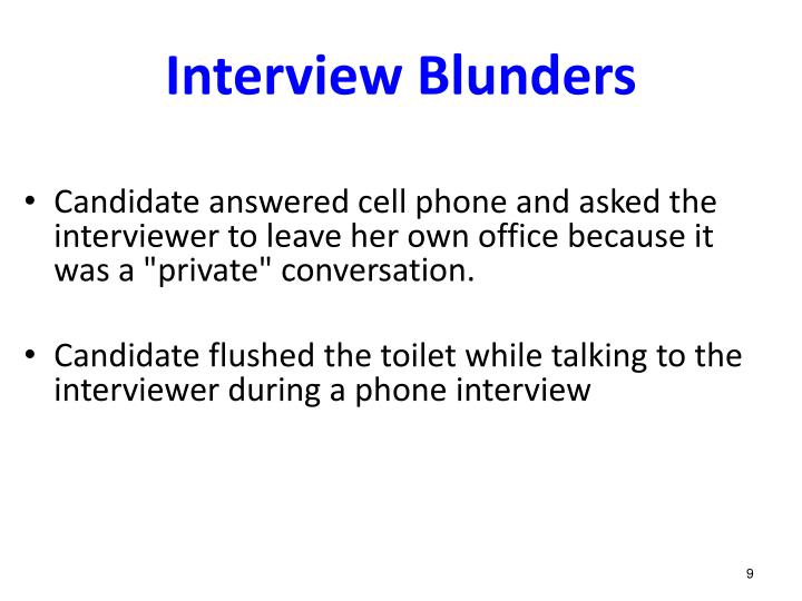 Interview Blunders