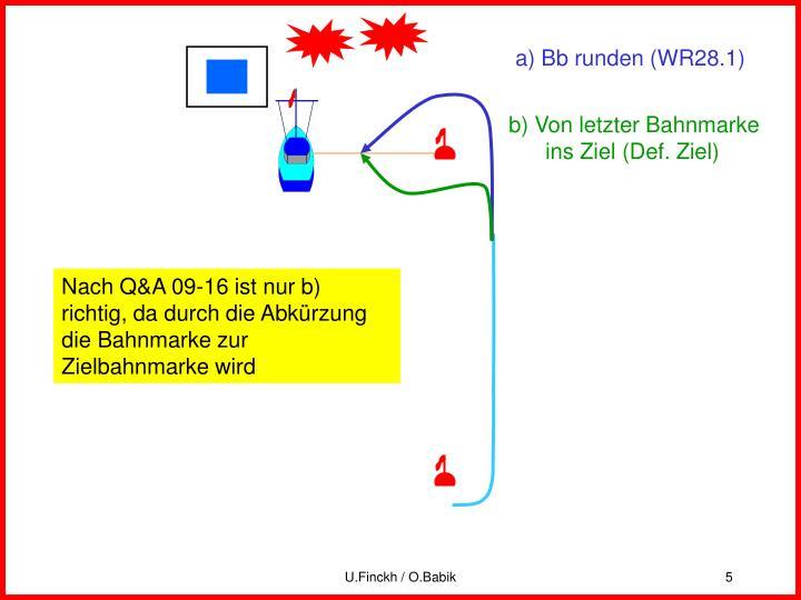 a) Bb runden (WR28.1)