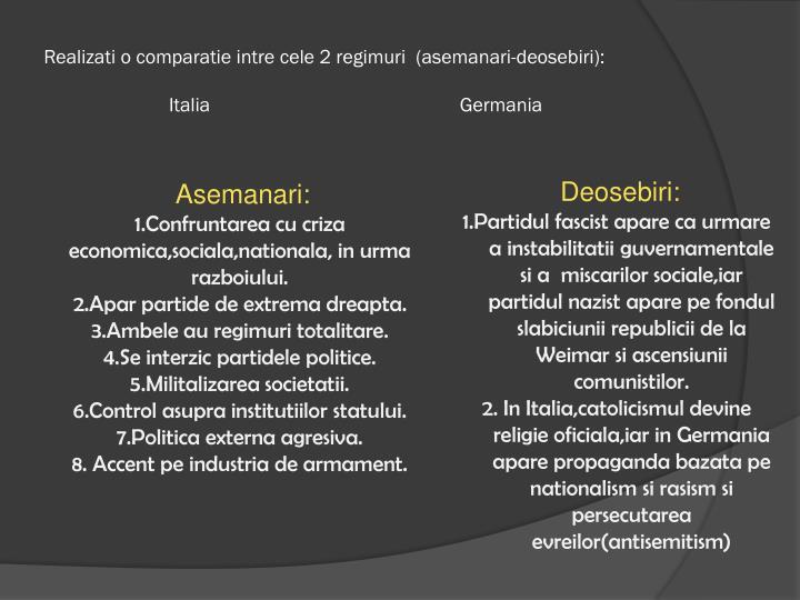 Realizati o comparatie intre cele 2 regimuri  (asemanari-deosebiri):