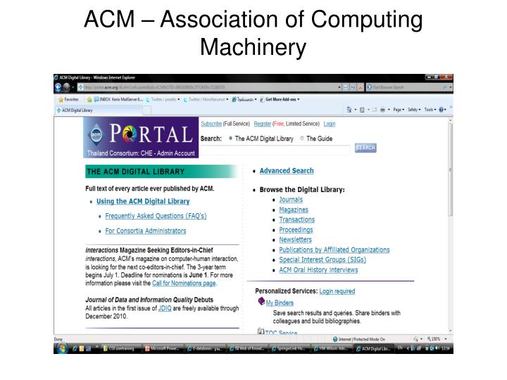 ACM – Association of Computing