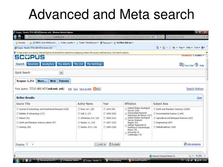 Advanced and Meta search
