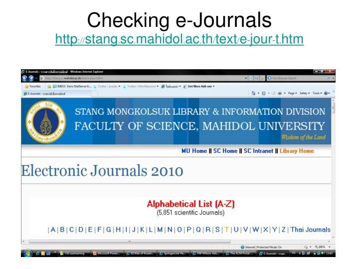 Checking e-J