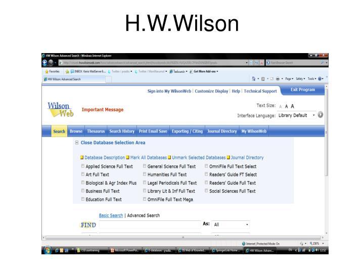 H.W.Wilson