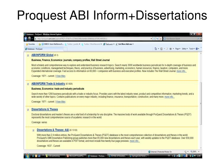 Proquest ABI Inform+Dissertations