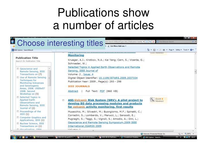 Publications show