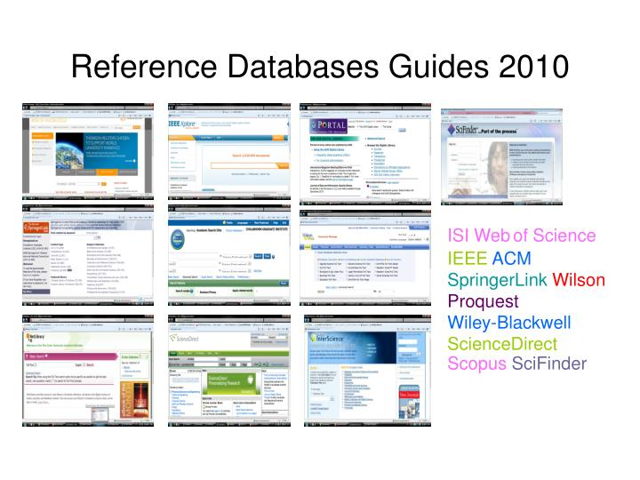 Reference Databases Guides 2010