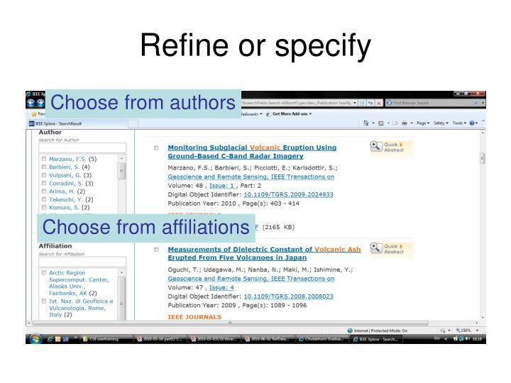 Refine or specify
