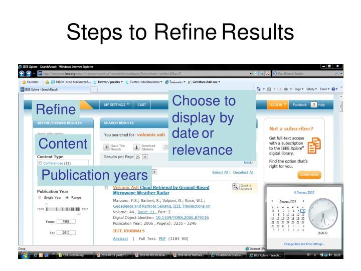 Steps to Refine