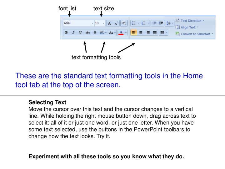 font list           text size