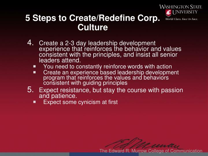 5 Steps to Create/Redefine Corp. Culture