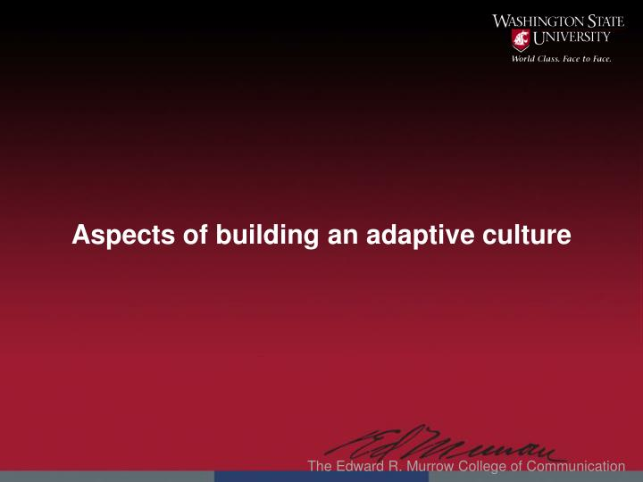 Aspects of building an adaptive