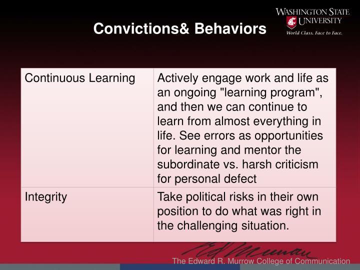 Convictions& Behaviors