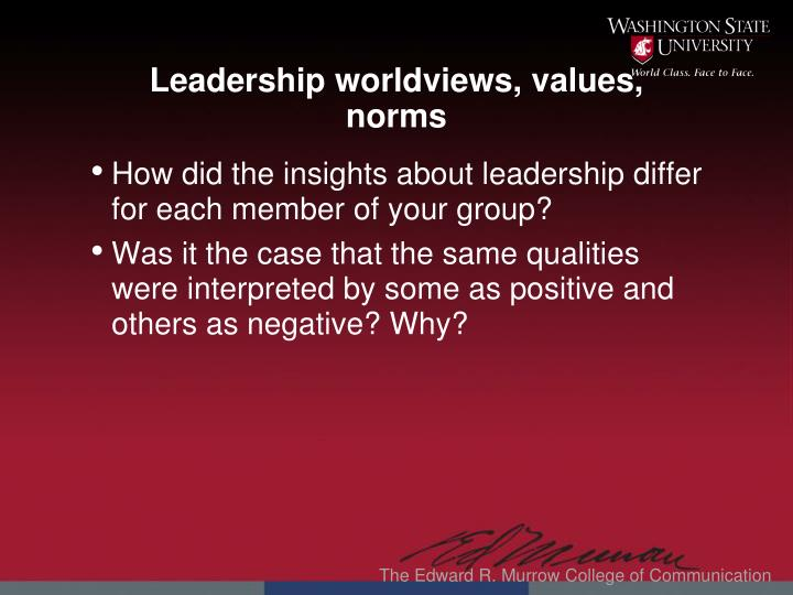 Leadership worldviews, values, norms