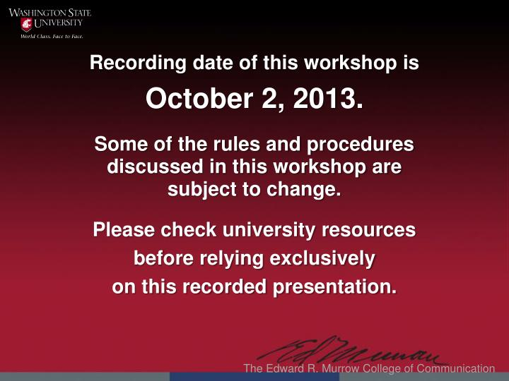 Recording date of this workshop is