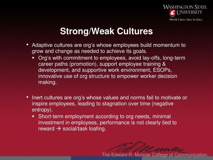 Strong/Weak Cultures