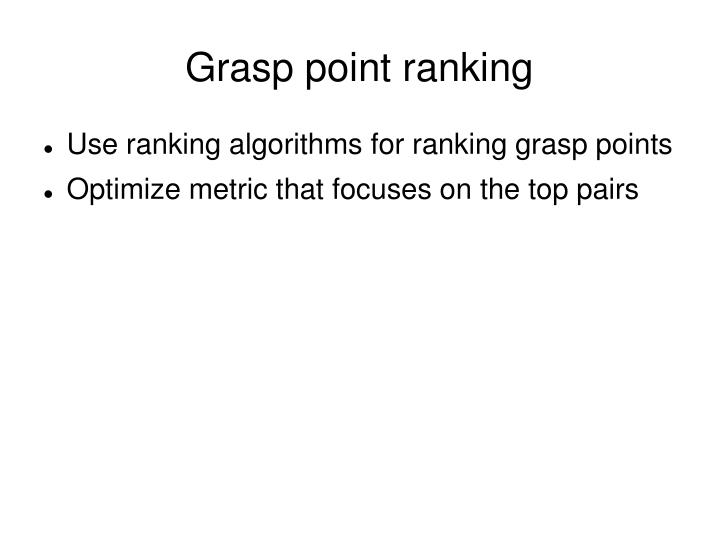 Grasp point ranking