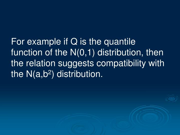 For example if Q is the quantile function of the N(0,1) distribution, then the relation suggests compatibility with the N(a,b