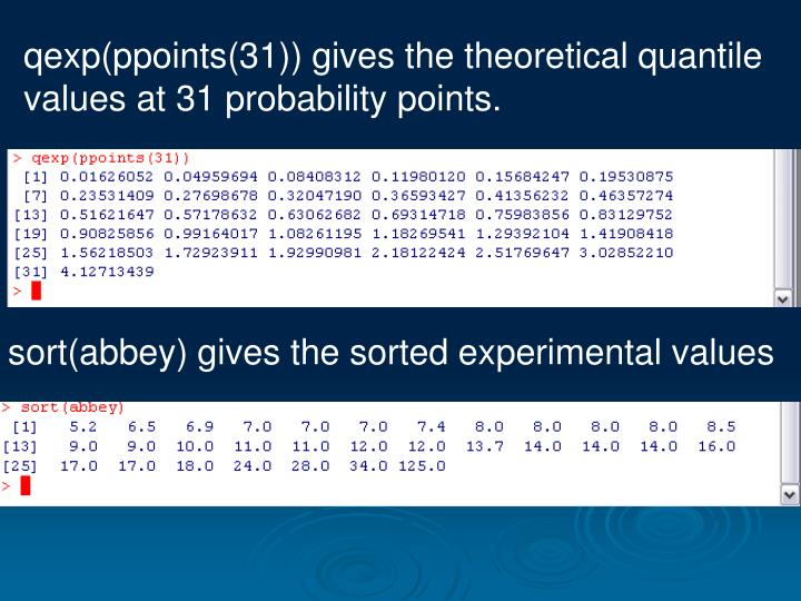 qexp(ppoints(31)) gives the theoretical quantile values at 31 probability points.