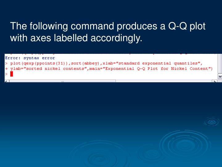 The following command produces a Q-Q plot with axes labelled accordingly.
