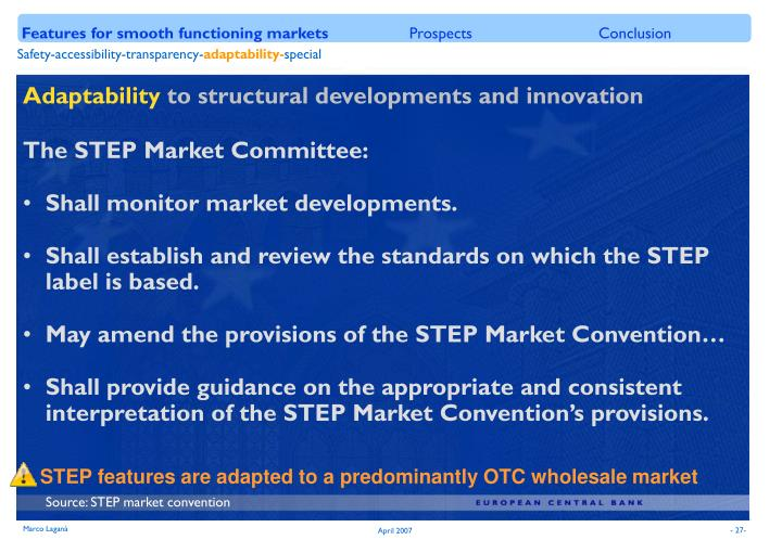 Features for smooth functioning markets