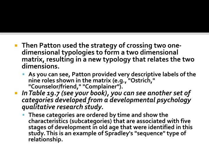 Then Patton used the strategy of crossing two one-dimensional typologies to form a two dimensional matrix, resulting in a new typology that relates the two dimensions.