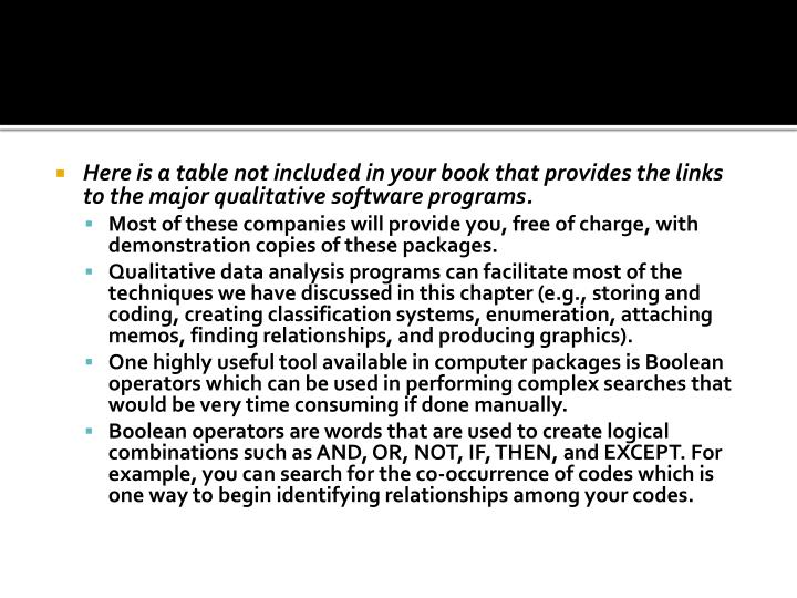 Here is a table not included in your book that provides the links to the major qualitative software programs.