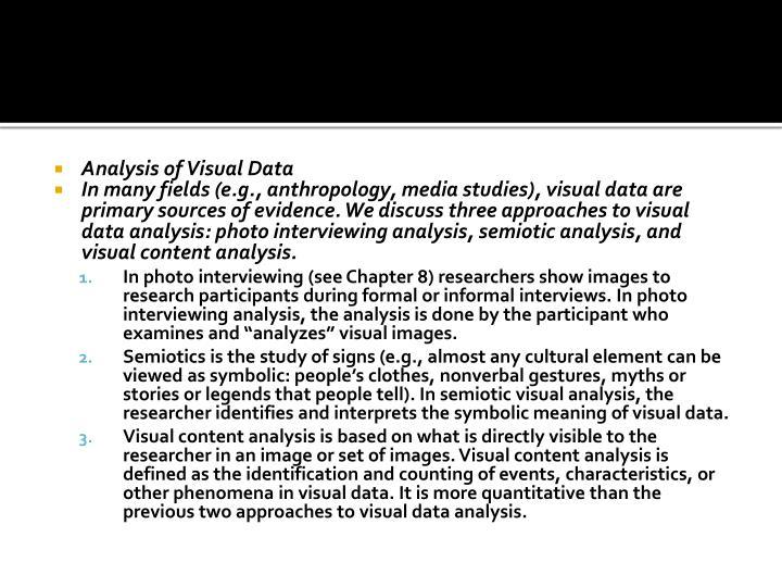 Analysis of Visual Data