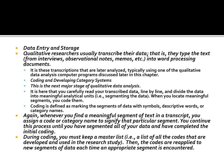 Data Entry and Storage