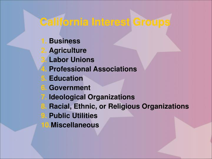 California Interest Groups