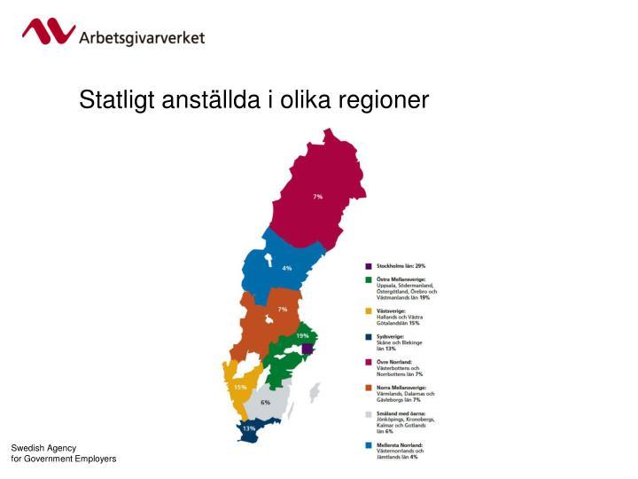 Statligt anställda i olika regioner