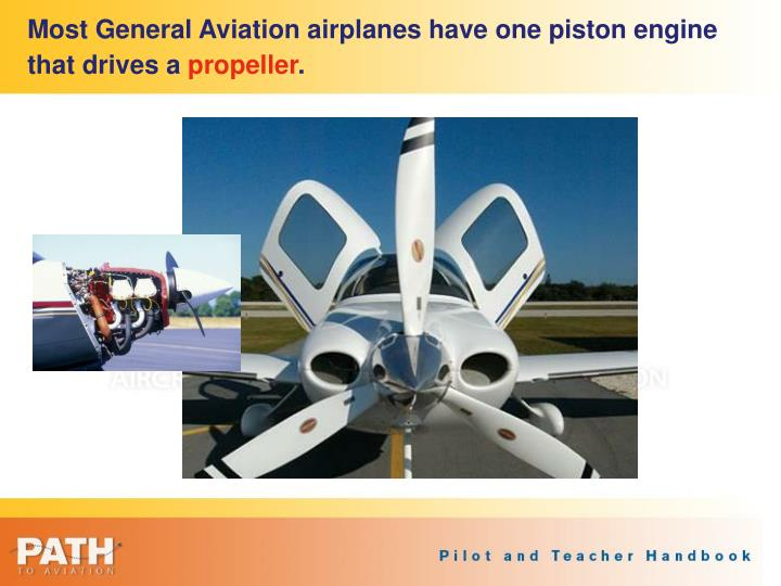 Most General Aviation airplanes have one piston engine that drives a