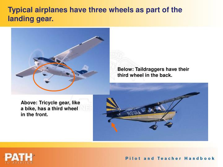 Typical airplanes have three wheels as part of the