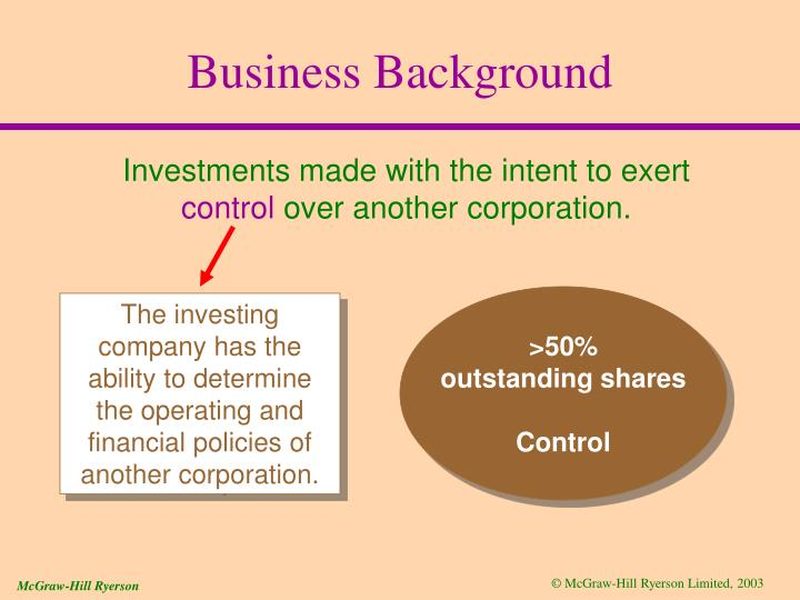 The investing company has the ability to determine the operating and financial policies of another corporation.