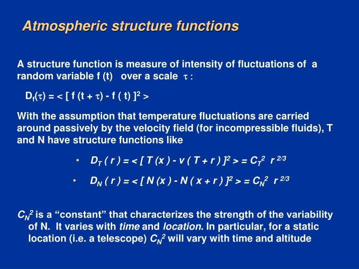 Atmospheric structure functions