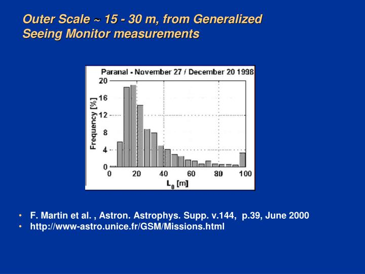 Outer Scale ~ 15 - 30 m, from Generalized Seeing Monitor measurements