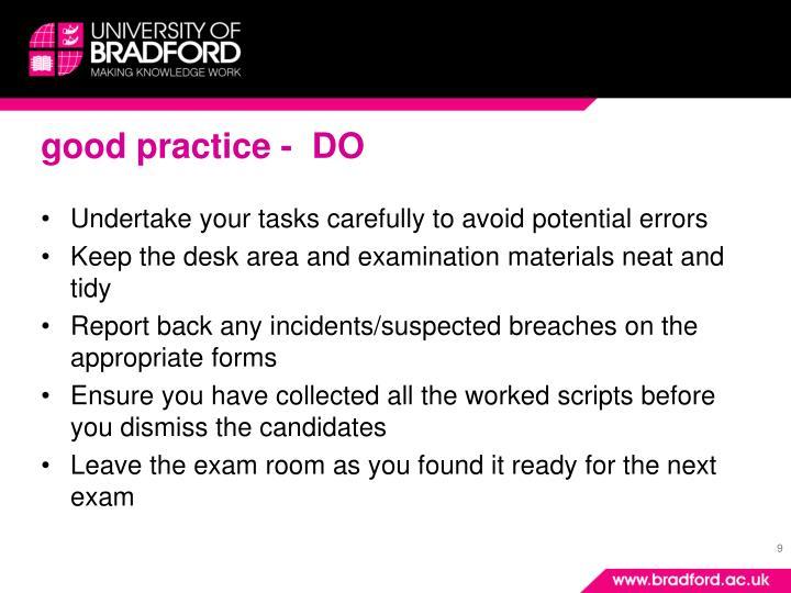 good practice -  DO