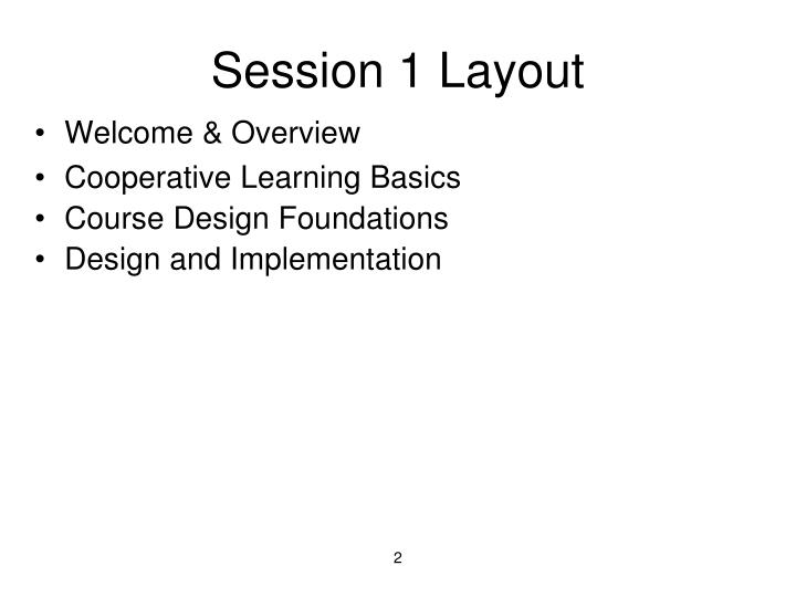 Session 1 Layout