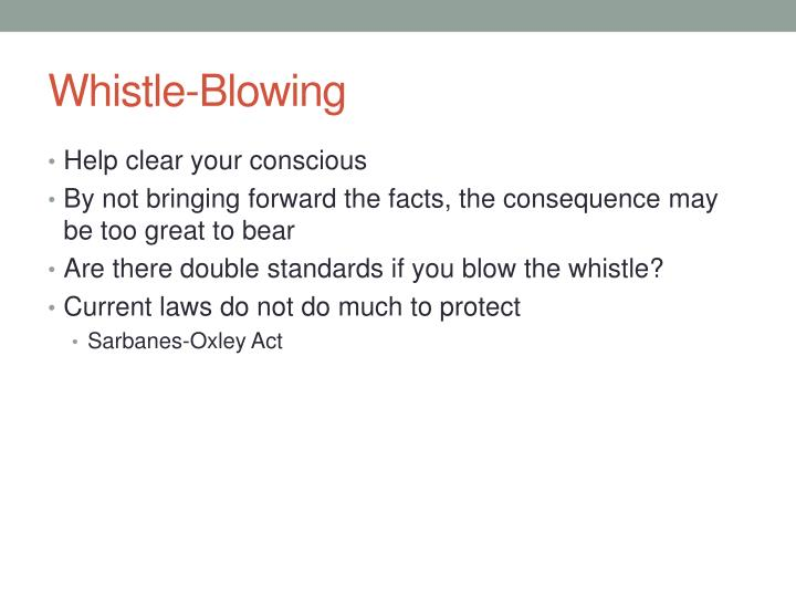 ethics of whistle blowing These two topics are instrumental to the discussion of whistle blowing whistle  blowing happens when someone within a company goes public regarding some .