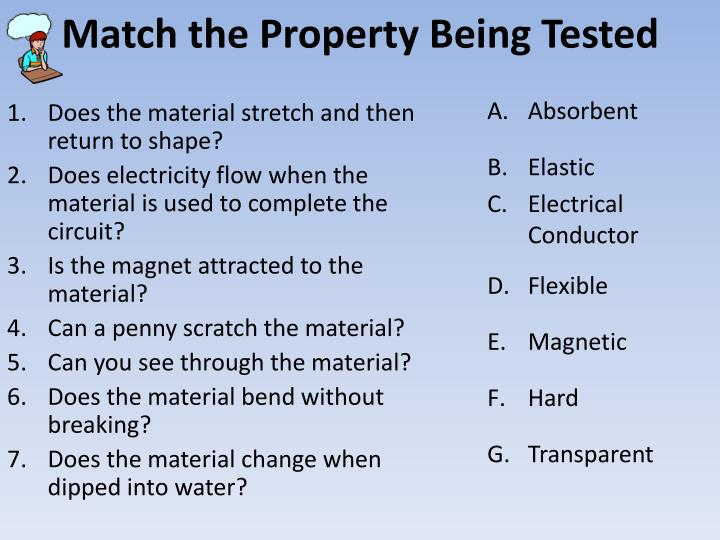 Match the Property Being Tested